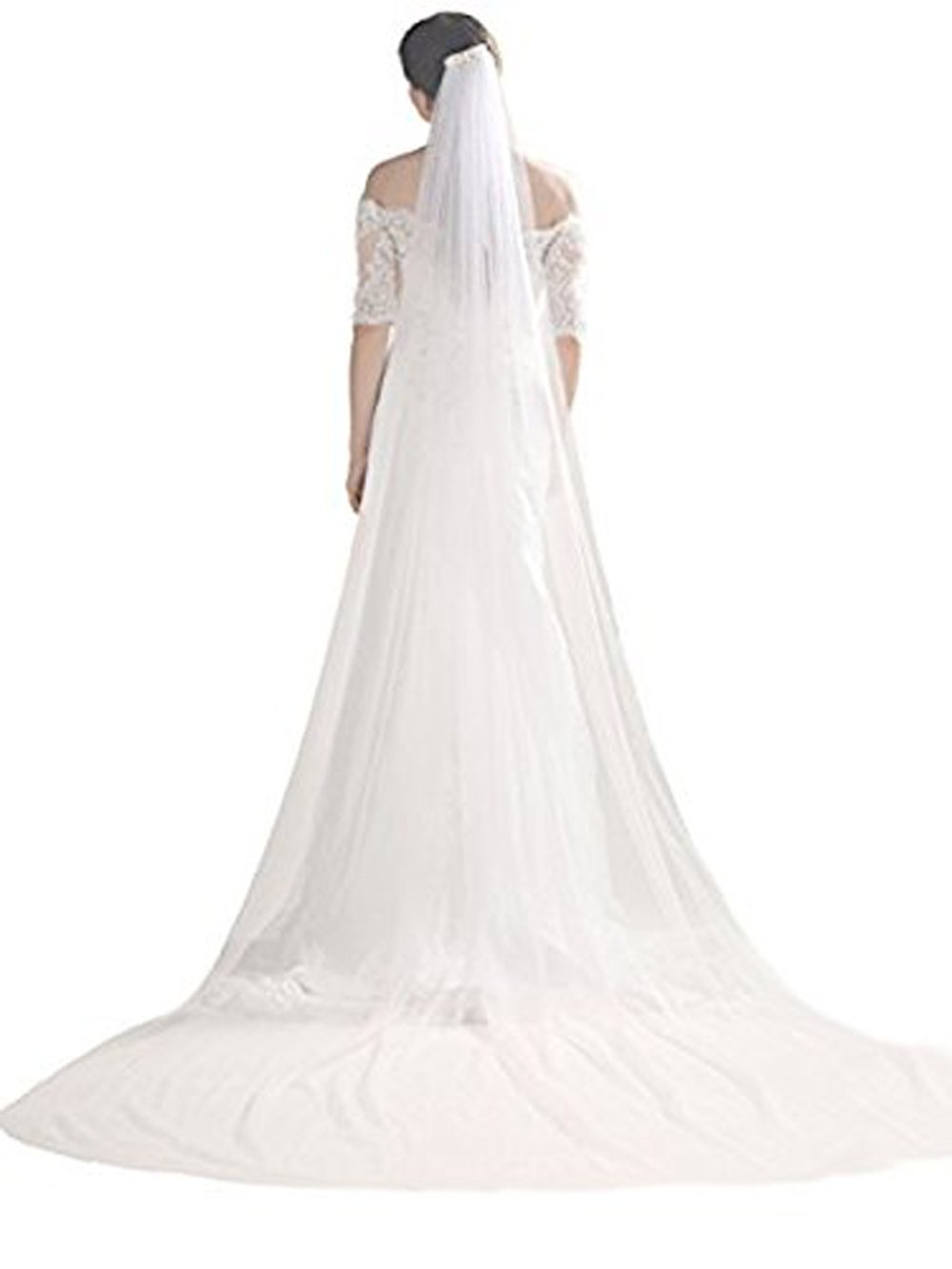 Bridalvenus Wedding Veil and Headpieces Bridal Cathedral Veil Chapel Veil with Comb (118 inches, One Tiers Veil) (Ivory)