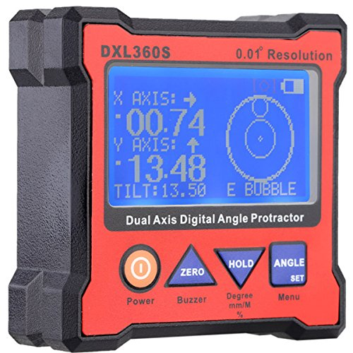 DXL360S High-precision Dual Axis Digital LCD Angle Protractor Dual-axis Angle Level Gauge with 5 Side Magnetic Base by SPK603