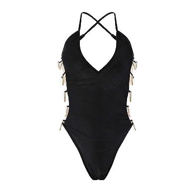 2df9eb1e11f Whitegeese Womens One Piece Monokini Swimwear Bikini Beach Bathing Suit  Padded Beachwear Black