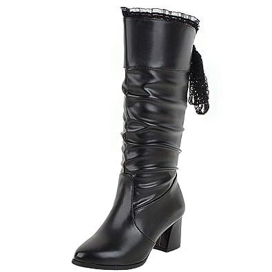 0882fd3e97 AIYOUMEI Damen Halbstiefel mit Blockabsatz Halbschaft Stiefel High Heels  Boots Schwarz 33.5 EU