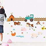 YUMULINN wallpaper stickers Wallpapers murals Cow farm children's room rustic style wall decoration baseboard wall stickers, 50X70CM