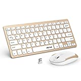 Wireless Keyboard and Mouse, Jelly Comb Ultra Thin Compact Wireless Keyboard Mouse Combo with 2.4G USB Receiver for Windows PC Desktop Laptop etc - White + Gold