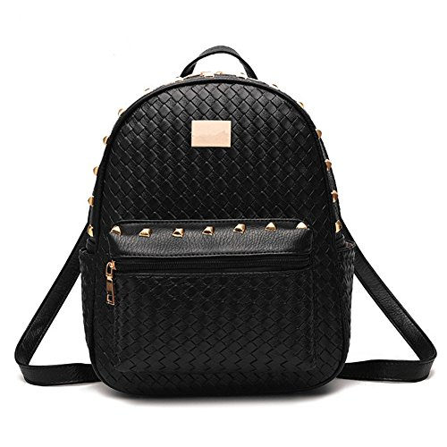 Hynbase Women Fashion Cute Mini PU Leather Schoolbag Backpack Shoulder Bag Black by Hynbase