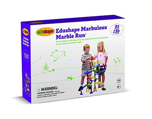 Edushape Marbulous Marble Run - 82 Pieces + 50 Marbles (Total 132 Pc Set) Sturdy Setups with Clear Step-by-step Illustrated Instructions in Four Different Skills Levels by Edushape (Image #8)
