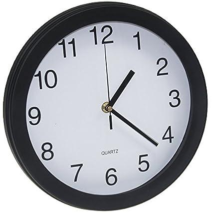 ChiliTec Funk Wanduhr für Küche Büro Wohnzimmer Durchmesser 26cm schwarzer  Rahmen weißes Ziffernblatt