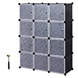 diy closet ideas SONGMICS Organizer, 12-Cube, DIY Plastic Closet Cabinet, Modular Bookcase, Storage Shelving with Doors for Bedroom, Living Room, Office, Black ULPC34H