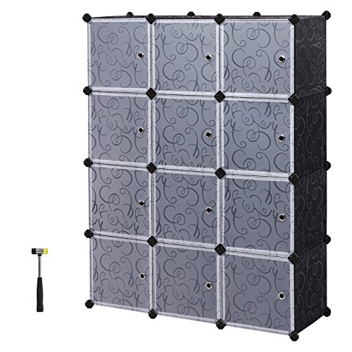 SONGMICS Organizer, 12-Cube, DIY Plastic Closet Cabinet, Modular Bookcase, Storage Shelving with Doors for Bedroom, Living Room, Office, Black ULPC34H