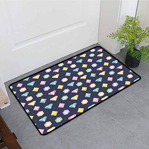 ONECUTE Dog Doormat,Colorful Graphic Gemstones with Different Shapes Trillion Drop and Marquise Cut Pattern,Rustic Home Decor,31