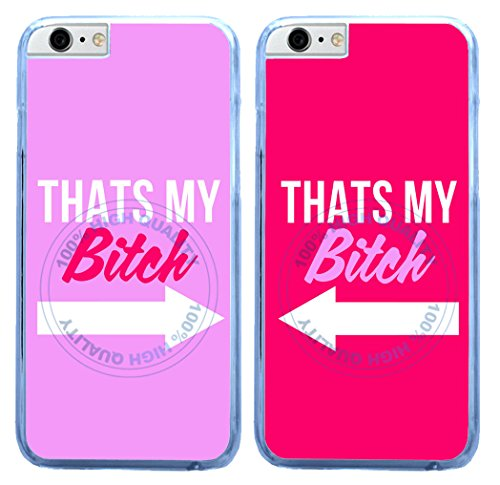 BleuReign(TM) Set Of 2 BFF Thats's My Bitch Clear Sides Plastic Phone Case Back Cover For Apple iPhone 6 Plus and iPhone 6s Plus (5.5 Inches Screen)