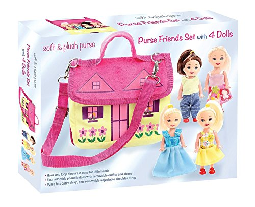 Soft and plush purse friends set with four adorable poseable dolls