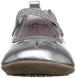 Robeez Nora Hard Sole Mini Shoe (Infant), Silver, 3-6 Months M US