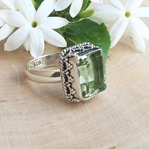 Sivalya Cushion Cut Natural Green Amethyst Ring for Women in 925 Sterling Silver - Exquisite Hand-crafted Design in Solid Silver - Size 8