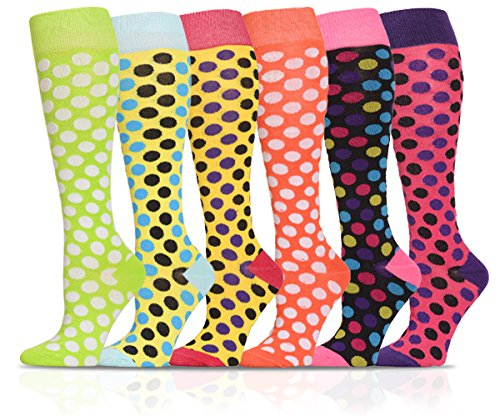 ICONOFLASH Casual Knee High Socks in Assorted Colors, 6 Pair Bundle Pack, Colorful Polka Dots