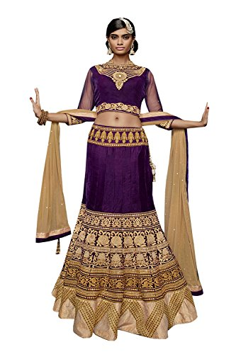 IWS Indian Women Designer Wedding purple Lehenga Choli K-4571-40103