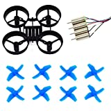 LHI RC Quadcopter Frame and 8pcs Propellers Blue with CL-0615 Blade Nano QX / Blade Fast Upgraded Motors for Eachine E010 Blade Inductrix Tiny Whoop