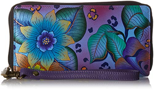 Anna by Anuschka Zip-Around Clutch Wallet | Genuine Leather | Tropical Safari