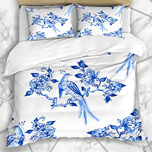 Ahawoso Duvet Cover Sets King 90x104 Tile Watercolor Pattern Delft Blue Netherlands Watercolour Floral Bird Porcelain Antique Holland Microfiber Bedding with 2 Pillow Shams