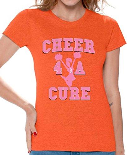 - Awkwardstyles Women's Cheer 4 A Cure T-Shirt Breast Cancer Shirt + Bookmark XL Orange