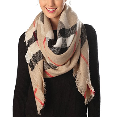 Checked Blanket (Women's Warm Oversized Checked Tartan Blanket Scarf Wrap Shawl With Brooch(Plaid,Beige))