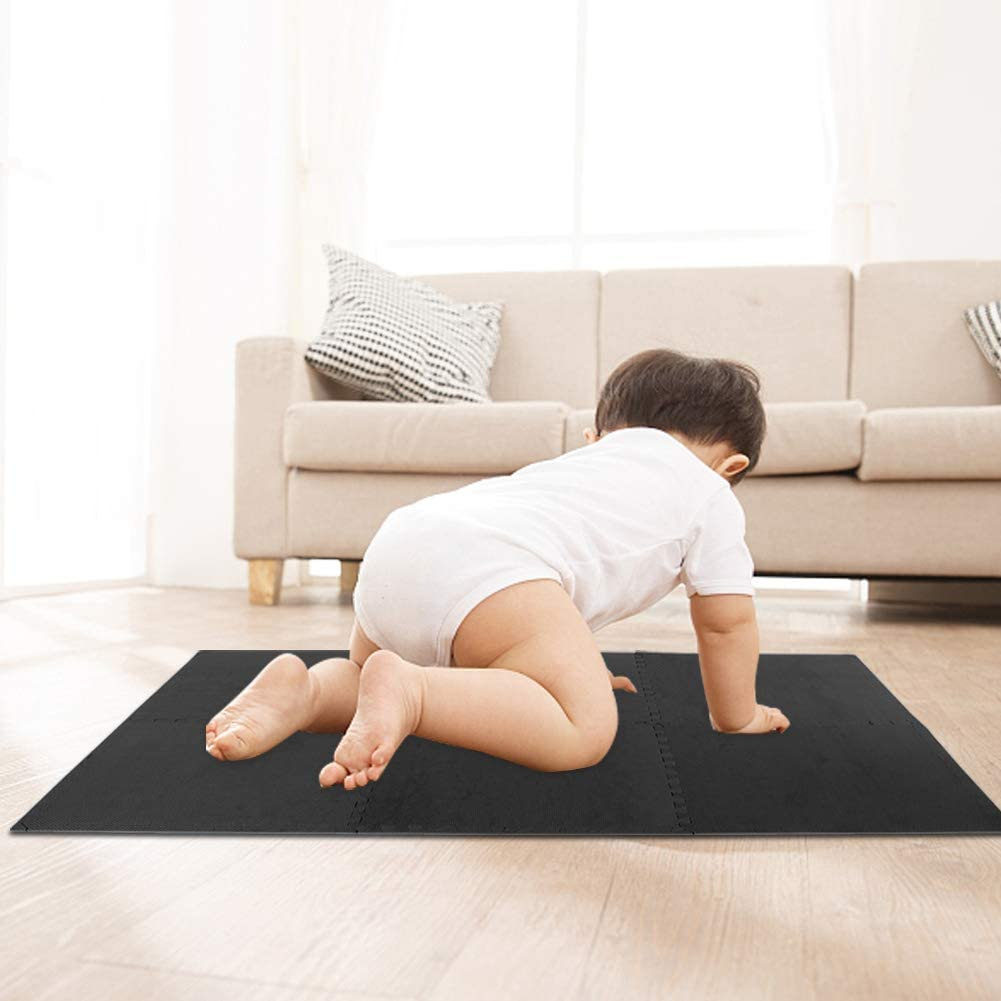 pour Exercice Yoga Gym Salle de Jeux Antid/érapant GOTOTO 6PCS Tapis Puzzle en Mousse EVA Tapis de Protection de Sol Tapis de Fitness Tapis de Jeu Epaissi pour B/éb/é Enfant Noir