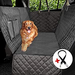Vailge 100% Waterproof Dog Car Seat Covers, Dog Seat Cover with Side Flaps, Pet Seat Cover for Back Seat - Black, Hammock Convertible 35