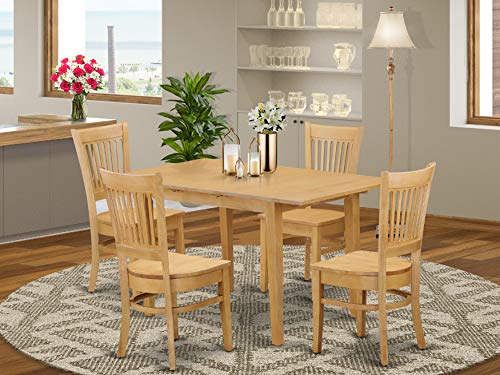 NOVA5-OAK-W 5 Pc Dining room set – Dining Table and 4 Dining Chairs