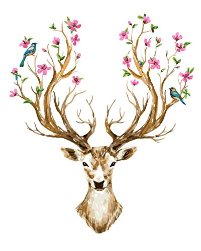 CaptainCrafts New Diy Paint by Numbers 16x20 for Adults Beginner Kit, Kids LINEN Canvas - Animals Flowers Deer Head (With Frame, Deer 1) (Head Deer Framed)