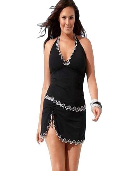 SHOBDW Damen Plus Größe Push up Einteiliges Schwimmen Kleid Badeanzug  Bikini Bademode Tankini Frauen Badeanzüge Beachwear fdf77e71fc