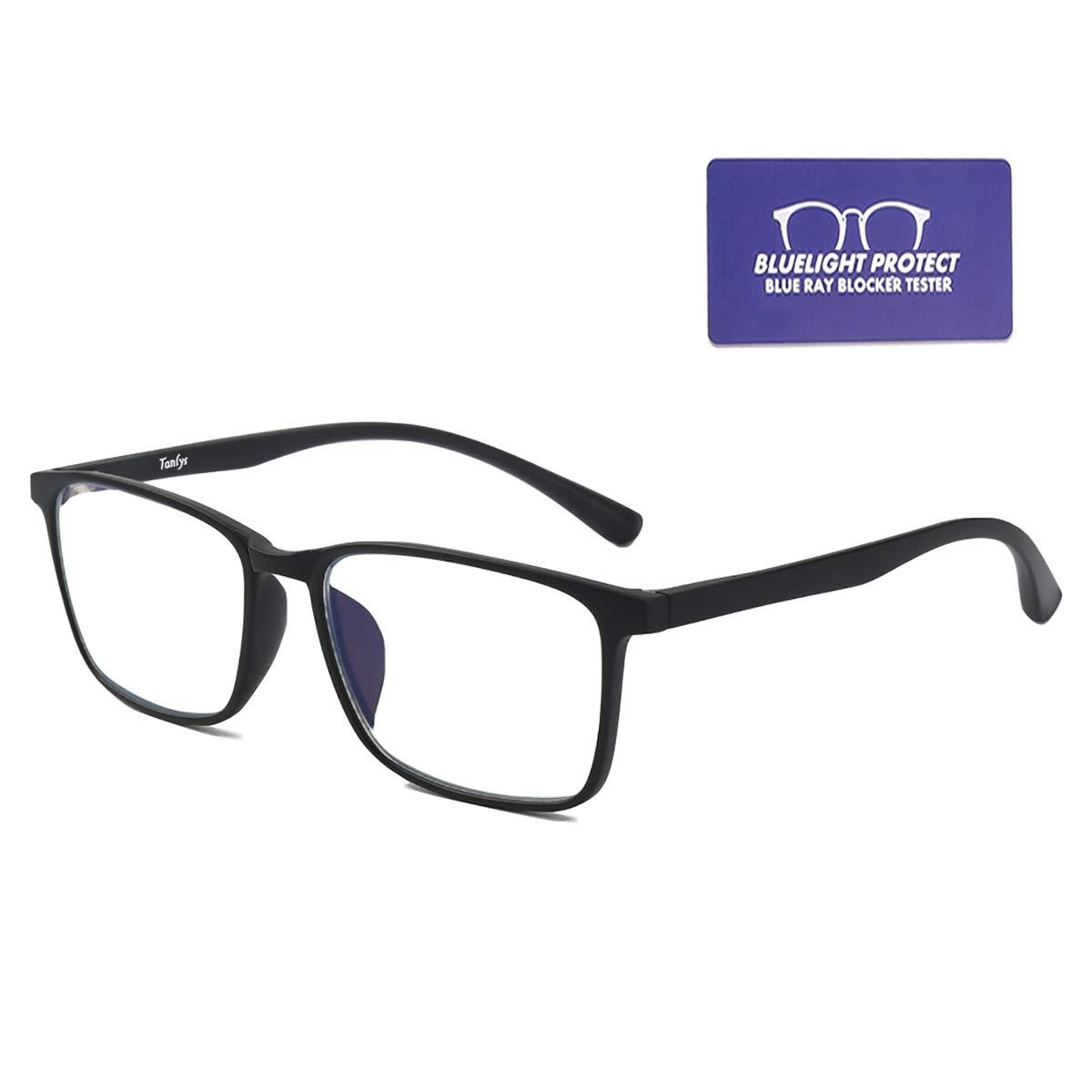 Tanlys Blue Light Blocking Glasses for Computer Eye Strain Anti UV Headache Light Weight TR90 Bluelight Blocker Gaming Glasses for Women Men(Black)