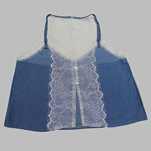 Laixing Buena Calidad Women's Blue Summer V Neck Lace Sleeveless Backless Tops Denim Vest Straps Blue