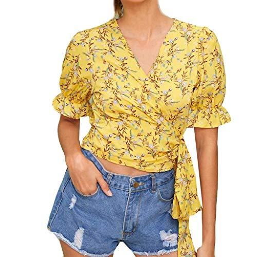 RIUDA Women V-Neck Fashion Cross Bandage Wave Point Short Sleeve Top T Shirt Blouse Yellow -
