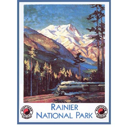 Ranier National Park Metal Sign: Train and Railroad Decor Wall Accent TIN Sign 7.8X11.8 INCH ()