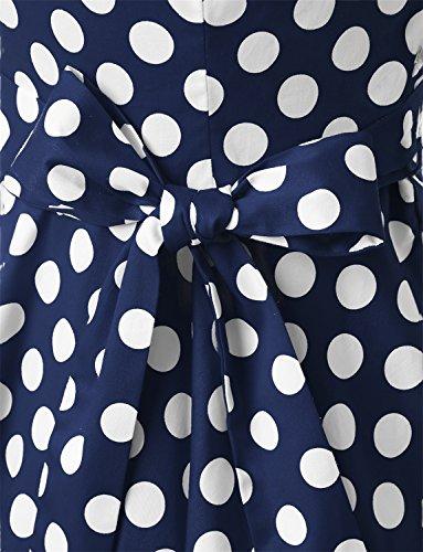 Dressystar Vestidos Mujer Corto Retro Vintage Con Mangas Cortas Rockabilly Navy White Dot B