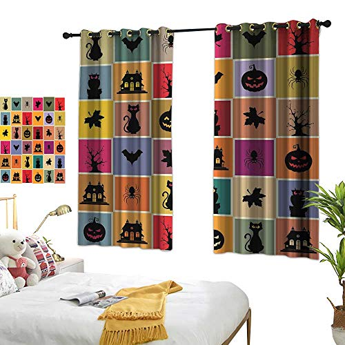 Warm Family Living Room Curtains Vintage Halloween,Bats Cats Owls Haunted Houses in Squraes Halloween Themed Darwing Art,Multicolor 54