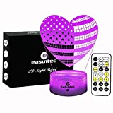 Easuntec Night Lights,Nursery Night Light USA Flag Loving Heart,7 Colors Change with Timer Remote Control,Gifts for Kids or Gifts for Women (USA Flag Loving Heart)