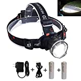 Adjustable Headlamp, LED Headlamp Flashlight Headlights with Rechargeable 18650 Batteries USB Charger for Cycling Running Dog Walking Camping Hiking Fishing Night Reading (Zoomable headlight) -  HODAY