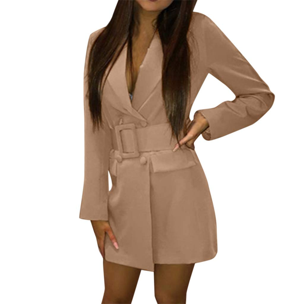 Willow S Women's Fashion Street Jacket Casual Tie Deep V Lapel Solid Color Pocket Long Sleeve Mid-Length Blazer Jacket Khaki by Willow S