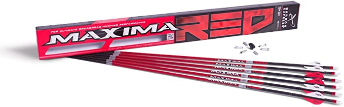 Best Archery Arrows :Carbon Express Maxima RED Fletched Arrows