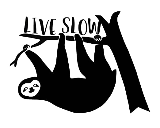 Amazon com live slow funny sloth decal vinyl stickercars trucks vans walls laptop black 5 5 x 4 incci1409 automotive