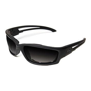 Edge Eyewear - Gafas de esquina con marco negro mate con juntas y lente de humo