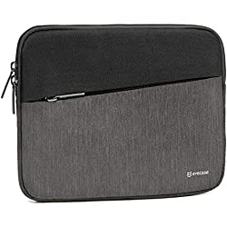 7.9- 8.9 inch Tablet Sleeve, Evecase Water Repellent Shockproof Portable Carrying Sleeve Protective Case Bag with Accessory Pocket for Apple Samsung Huawei Asus and More - Black and Gray