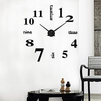 HQQ DIY Pegatinas 3D Reloj de Pared electrónicos Grandes Relojes Modernos para Sala de Estar para la Oficina 3D Espejo Etiqueta Metal Grandes Relojes (Color ...