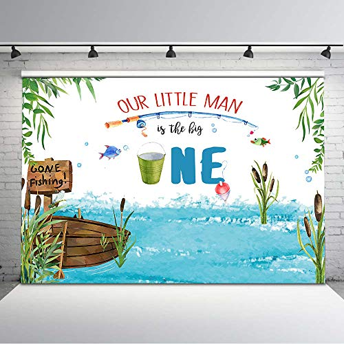 Mocsicka Gone Fishing Birthday Backdrop The Big One Boy Fish 1st Birthday Background Vinyl 7x5ft Fishing Party Photo Backdrops