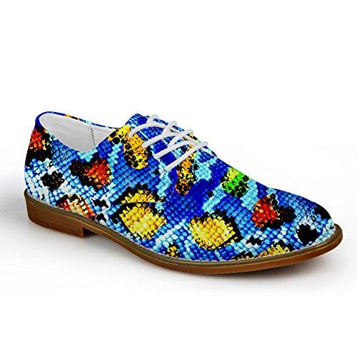 HUGS IDEA Serpentine Pattern Mens Fashion Oxford Dress Shoes