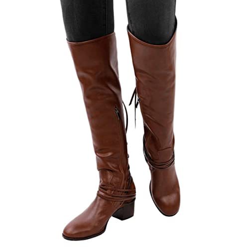 034e6073f90f GOUPSKY Wide Calf Knee High Boots for Women Winter Lace Up Block Heel  Chukka Retro Riding Booties Zipper Side  Amazon.co.uk  Shoes   Bags
