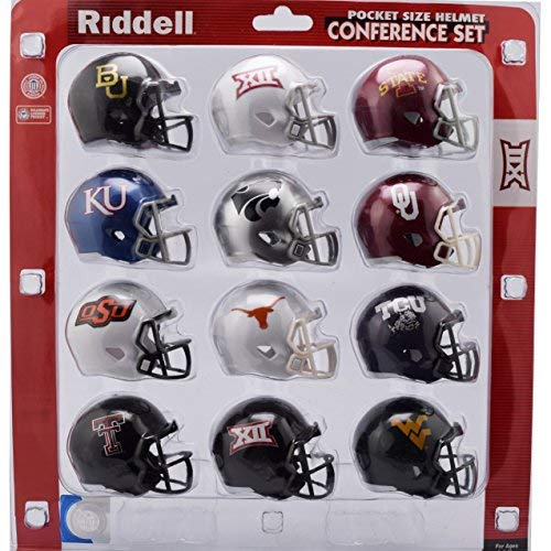 Riddell NCAA Big 12 Helmet Pocket ProBig 12 Conference Set Pocket Pro Speed Style 2018, Team Colors, One Size College Football Team Helmets