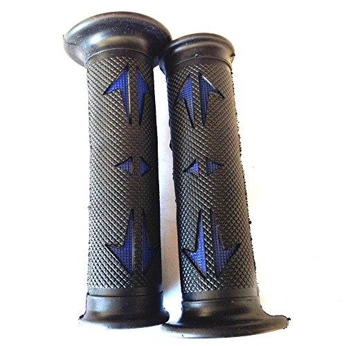 Universal ATVs & PWC Rubber Comfort Grips- Black & BLUE QUAD YAMAHA KAWASAKI POLARIS SEADOO BOMBARDIER JET SKI HONDA FOREMAN RECON RINCON Brute Force Prairie BRUIN GRIZZLY KODIAK(7/8