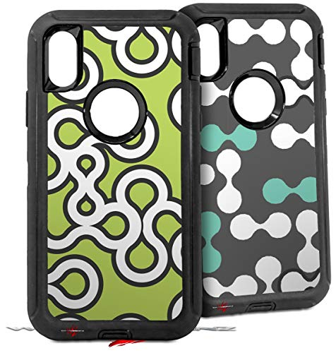 2X Decal Style Skin Wrap Set Compatible with Otterbox Defender iPhone X and Xs Case - Locknodes 03 Sage Green (CASE NOT Included)
