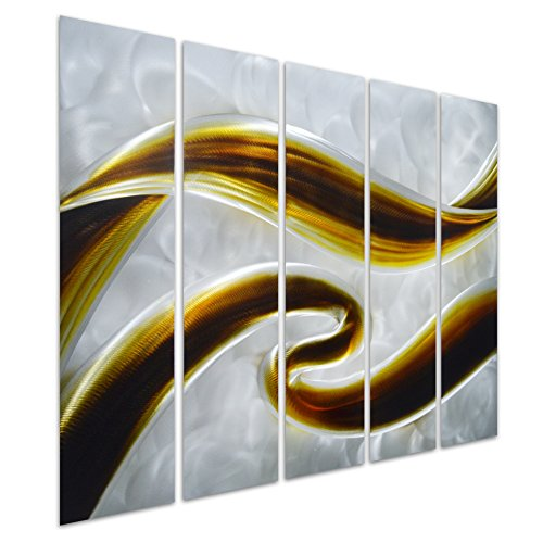 Pure Art Swirls of Color - Abstract Metal Wall Art Decor - Small Brown Hanging Sculpture of 5 Small Panels - Modern Design of 34