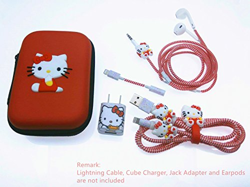 Tospania DIY Kit for iPhone Xs/X 8 Plus and Backwards-Compatible IPad iPod iWatch Charging Cable/Earphones and USB Charger (Red Kitty)